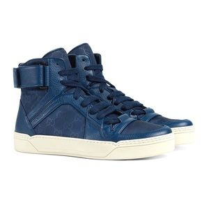 Gucci Nylon Guccisima Blue High Top Sneakers